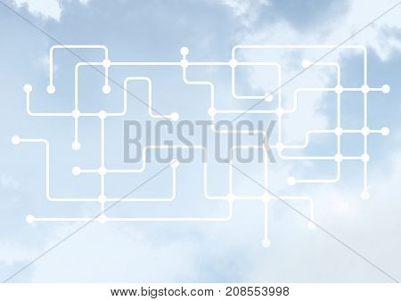 Digital composite of Sky clouds with graphics of connectors lines
