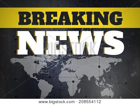 Digital composite of Breaking news text in front of world map