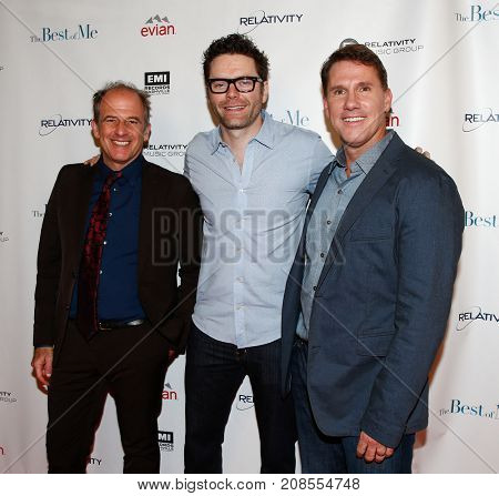 Director Michael Hoffman (L), radio host Bobby Bones (C) and author Nicholas Sparks attend