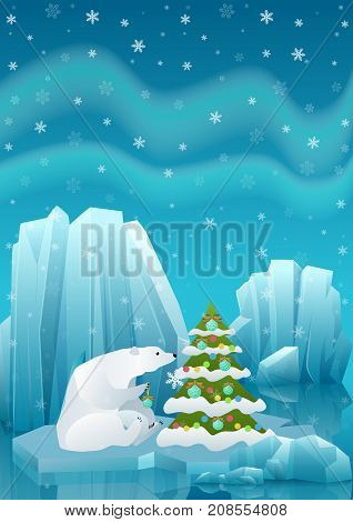 Vector illustration of cute polar bear sitting in ice and decorating Christmas tree with ball. Winter arctic ice landscape with iceberg and snow mountains hills