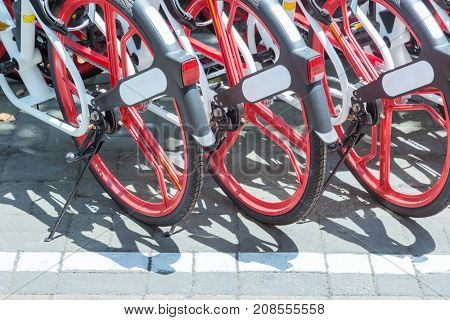Public rental bicycles in a line in city,elevated view,tianjin,china.