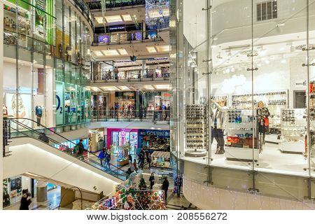 PRAGUE, CZECH REPUBLIC - DECEMBER 10, 2015: Palladium mall interior decorated for Christmas holidays - one of the biggest centers in Prague, popular shopping destination with locals and tourists.