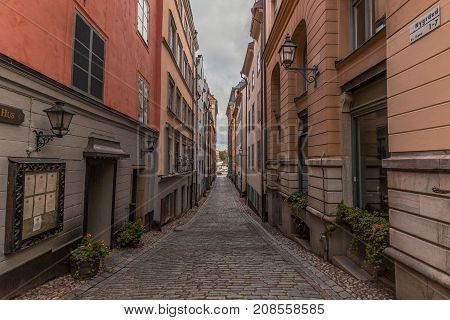 Narrow alley in the old part of Stockholm city