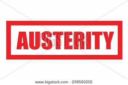 AUSTERITY sticker. Authentic design graphic stamp. Original series