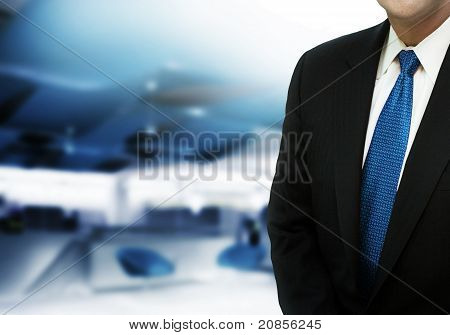 Modern office with businessman