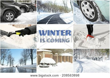 Collage for driving safety concept and text WINTER IS COMING