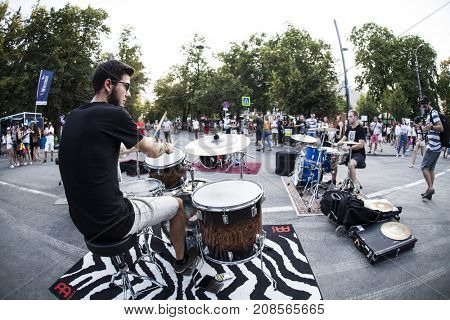 Cluj-Napoca, Romania - August 4, 2017:  Small band performing in the park at Untold Festival, the Best Major Music Festival of Europe