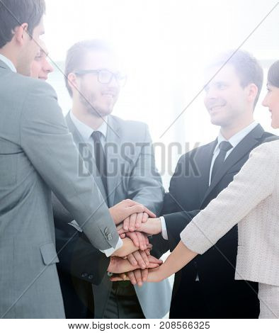 concept of recruitment: the business team and new employees are