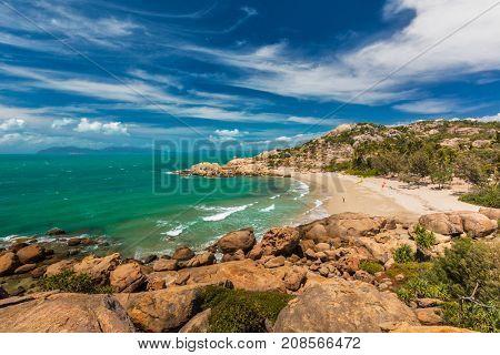 Horseshoe Bay at Bowen - iconic beach with granite climbing rocks, north Queensland, Australia