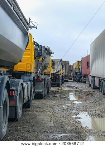 Bologoye, Russia - March, 9, 2017: trucks on a parking in Bologoye, Russia