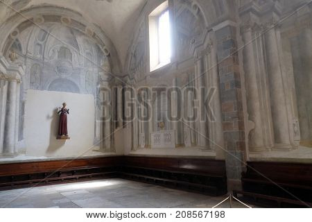 LUCCA, ITALY - JUNE 03: Sculpture of the Virgin in the Basilica of Saint Frediano, Lucca, Tuscany, Italy on June 03, 2017.