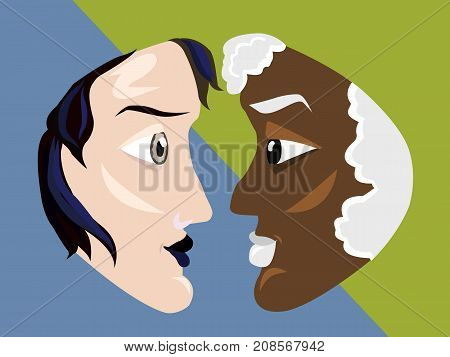 Side view of black and white faces. Contrast thoughts balance concept illustration vector.