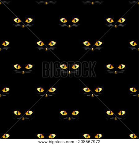 Cat Golden Eye Seamless on Black Background. Vector Illustration.