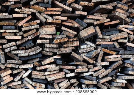 Planks of timber cut and arranged in order.