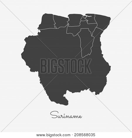 Suriname Region Map: Grey Outline On White Background. Detailed Map Of Suriname Regions. Vector Illu