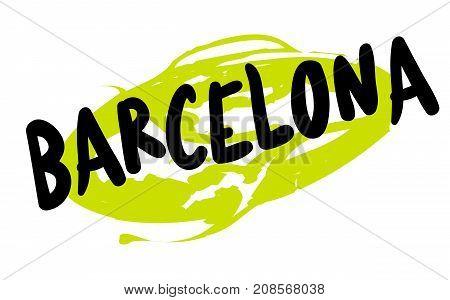 BARCELONA sticker. Authentic design graphic stamp. Original series
