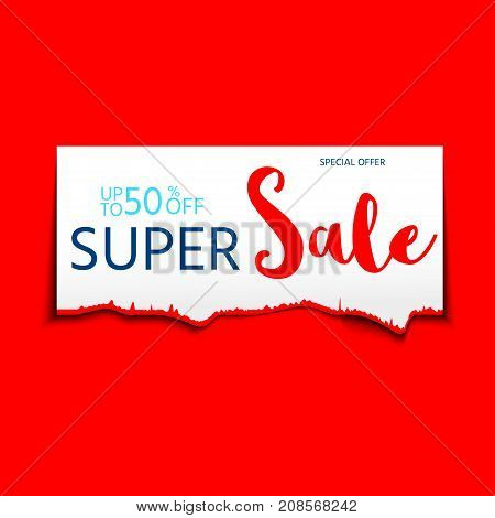 Shredded Sale Banner For Web And Print, Sale Promo, Advertising,