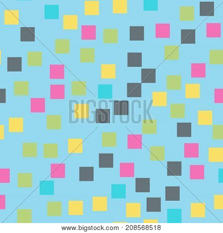 Abstract Squares Pattern. Light Blue Geometric Background. Incredible Random Squares. Geometric Chao