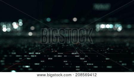 Economic indicators of world markets. Data transmission channel. Motion of digital data flow. Transferring of big data/Transfer and storage of data sets