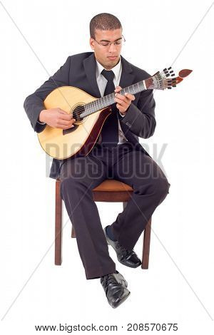 man playing a portuguese guitar, full length, isolated