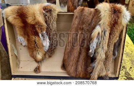 soft and fluffy fox fur. Brown fur. fleece, furry, animal fur,