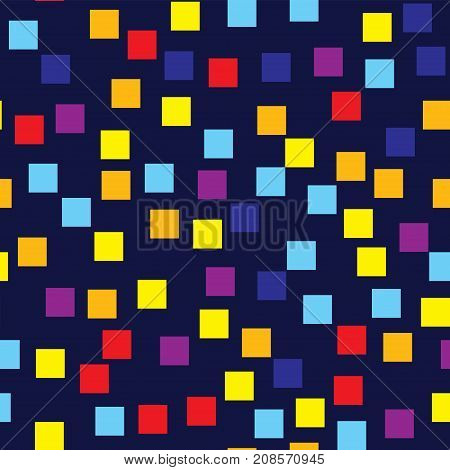 Abstract Squares Pattern. Deep Blue Geometric Background. Gorgeous Random Squares. Geometric Chaotic