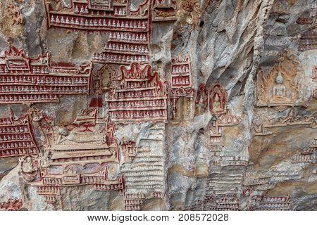 Carvings In Kaw Goon Cave Background In Myanmar In Myanmar, Back.