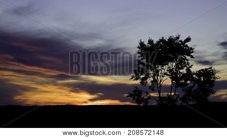 Wide view of the beautiful red/orange skies of dusk with a tree and landscape in silhouette. Shot from the side of a logging road near Bathurst, New Brunswick on a bright sunny day with blue skies and clouds in August.
