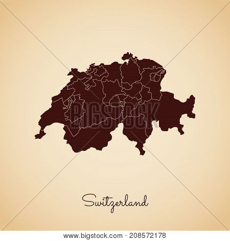 Switzerland Region Map: Retro Style Brown Outline On Old Paper Background. Detailed Map Of Switzerla