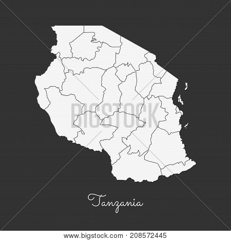 Tanzania Region Map: White Outline On Grey Background. Detailed Map Of Tanzania Regions. Vector Illu