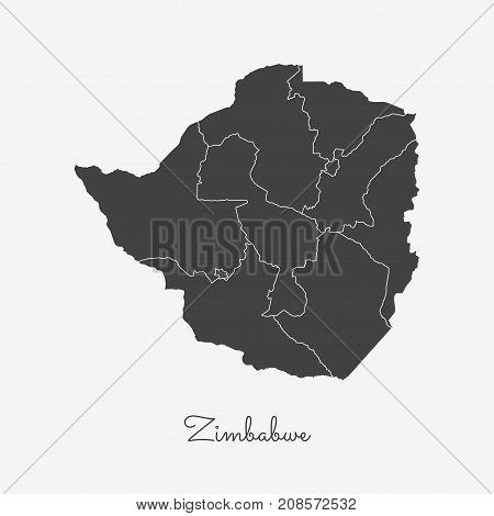Zimbabwe Region Map: Grey Outline On White Background. Detailed Map Of Zimbabwe Regions. Vector Illu