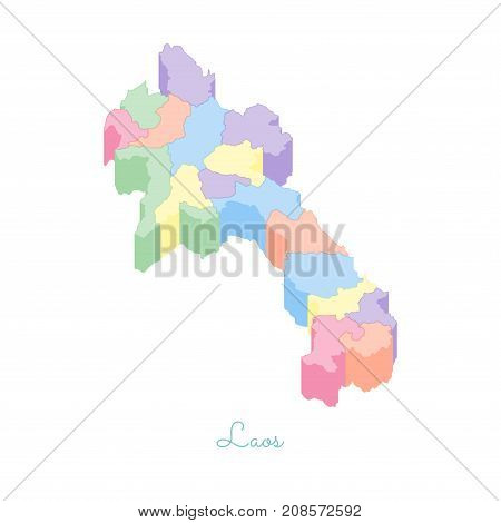 Laos Region Map: Colorful Isometric Top View. Detailed Map Of Laos Regions. Vector Illustration.