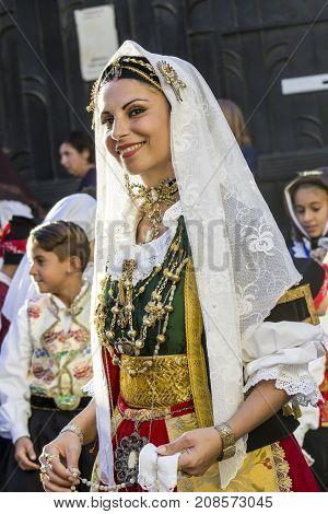 QUARTU S.E. ITALY - SEPTEMBER 13 2017: Religious Procession of Sant'Elena -Sardegna