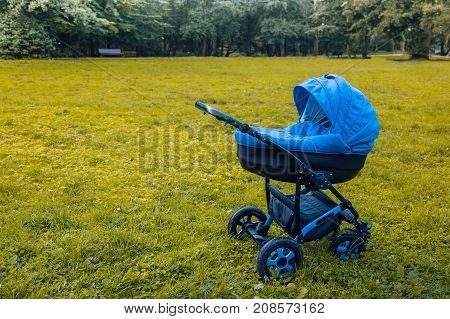 A stroller strolls in the park against the background of green trees. toned photo