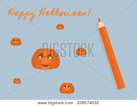 Happy Helloween! Orange pumpkins and pencil. Blue background. Vector illustration