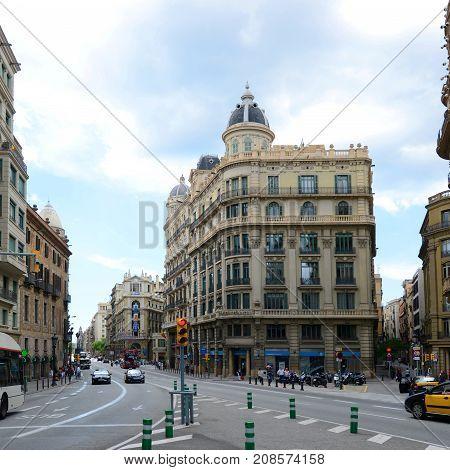 BARCELONA - JUN. 9, 2013: Casa Heribert Salas was built during 1923 by Juli Marial i Tey at No.47 Via Laietana in the Old City (Ciutat Vella) of Barcelona, Catalonia, Spain.