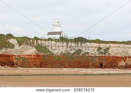 Lighthouse on Old Hunstanton Beach in Norfolk