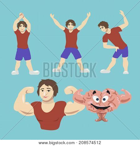 Train your brain. Young man workout for brain fitness. Motivation, health, thoughtful, mindfulness concept illustration vector.
