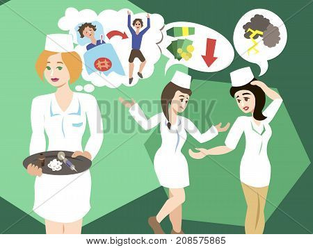 Nurses working for different reasons. Priorities in your job. Health, care, money, luxury concept illustration vector.