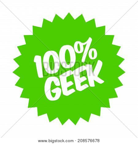 100 percent geek sticker. Authentic design graphic stamp.