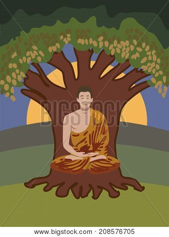 Buddhist monk meditating in lotus pose sitting under a green tree. Spiritual growth. The path to enlightenment. Mindful meditation concept illustration vector.