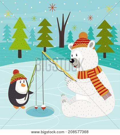 Polar bear and penguin on fishing - vector illustration, eps