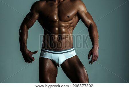 Black Sportsman Thumbs Up. Personal Fitness Trainer. Attractive Guy With Healthy Sports Sexy Body. A