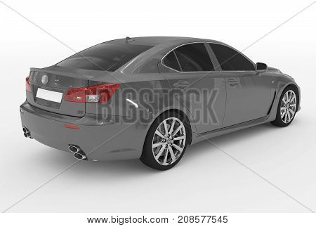 Car Isolated On White - Gray Paint, Tinted Glass - Back-right Side View