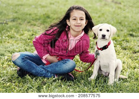 Cute Girl Puppy Walk Park Green Grass Sitting