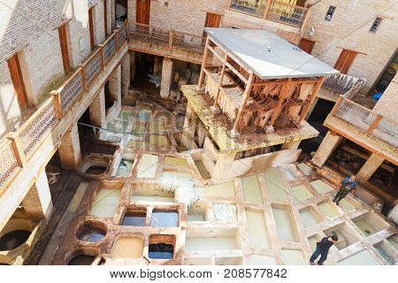 Leather Traditional Tannery In Fez, Morocco