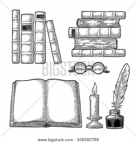 Set education. Inkwell with feather pile of old books glasses candle. Isolated on white background. Vector black vintage engraving illustration. Hand draw in a graphic style.