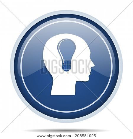 Head blue round web icon. Circle isolated internet button for webdesign and smartphone applications.