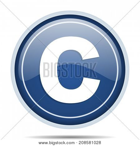 Copyright blue round web icon. Circle isolated internet button for webdesign and smartphone applications.