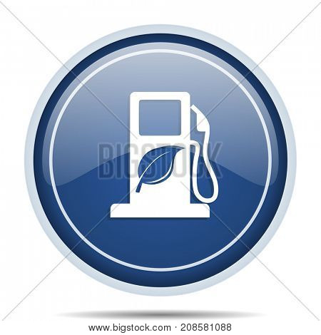 Biofuel blue round web icon. Circle isolated internet button for webdesign and smartphone applications.